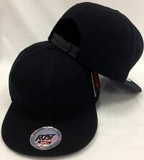 Plain Blank Black Snapback Cap Hat WE OFFER CUSTOM EMBROIDERY Fast Free Shipping