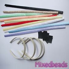 "*U PICK* 4-9 set Satin Headband Fabric Cover 9/16"" 15mm + Plastic Hair Band kit"