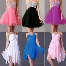 US Stock Short Beaded Wedding Bridesmaid Prom Gown Party Formal Evening Dresses