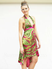 NEW Lime Green & Pink Print Satin Low Back Cocktail Race Evening Dress 10 12 14