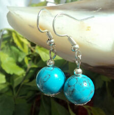 Women lady girl celebrity party Turquoise round bead stone dangling Earring