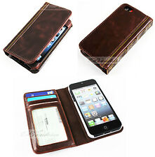 For Iphone 5 5S Retro Class Book Case Antique Vintage Old Design Wallet