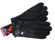 Men's Genuine Leather Gloves Winter Insulated Adjustable Buckle Driving, Sizes