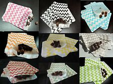 100 Chevron Striped Treat Bags, 5x7 Food Safe Candy Favor Paper Bags, Party Bags