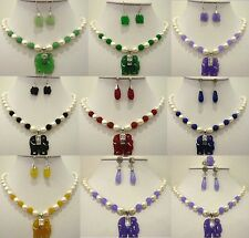 9 color-white pearl& green/purple/red/yellow jade elephant pendant necklace set