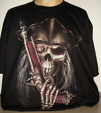 Pirate Gun Jolly Roger Skull T-Shirt Size S - 3 XL new! Glows In The Dark
