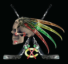Chicago Blackhawks Skull Hawk  Men's T Shirt Tomahawks and Feathers