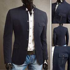 Stylish Grandad Mens Casual Formal Knitting Blazer Jacket UK S-XXL Button Navy