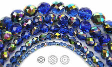 "Czech Fire Polished Round Faceted Beads in Sapphire Vitrail coated, 16"" strand"