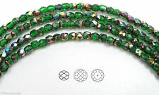 "Czech Fire Polished Round Faceted Beads in Spring Green Vitrail coat. 16"" strand"