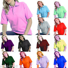Ladies Polo Shirt Size UK 8 to 28 Plus Pique T-Shirt All Colours NEW