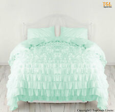New Waterfall Ruffle Duvet Cover 500TC Organic Cotton Full/Queen Aqua Marine