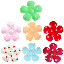 "*U PICK*70-100 Satin Polka Dot Flower 7/8"" applique padded fabric hair scrapbook"