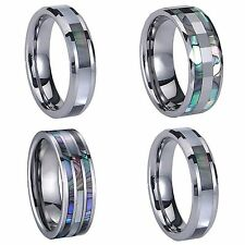 Tungsten Carbide Inlay Mens Womens Wedding Rings Couples Friendship Ring Unisex