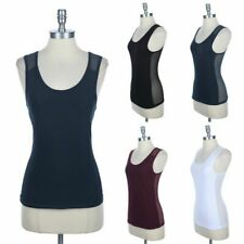 Full Mesh Sheer Back Panel Tank Top Sleeveless Round Neck Front Lining S M L