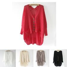 New Women Lady Loose Hollow Asym V-Neck Batwing Knitted Sweater Cardigan Tops
