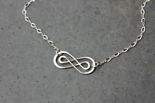 Double Infinity Sign Sterling Silver Necklace - Celtic- forever love anniversary