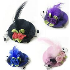 Mini Hat Feather Fascinator Black Corsage Bridal Wedding Races Head Hair Clip