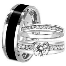 3 pc TUNGSTEN Mens & Womens Engagement Wedding Band Rings Set CZ HIS Black HERS