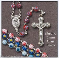 MURANO Glass Rosary Beads Blue Pink Yellow or Red Rosaries & Leaflet 6350