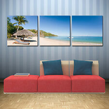 BEACH ready to hang set of 3 wall art print mounted on MDF/Improved canvas arts