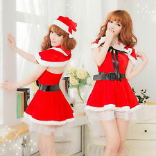 Sexy Xmas Womens Santa DS Cosplay Dress Christmas Costumes Lingerie Sets Outfits