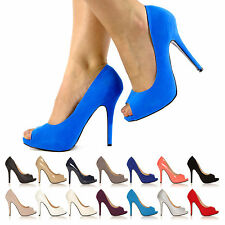 NEW WOMEN LADIES STILETTO HIGH HEELS PEEP TOE SHOES COURT SHOES SIZE UK 345678