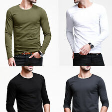 NEW Mens Basic Tee Long Sleeve T Shirt Top Crew Neck High Stretch Fitted 6 Color