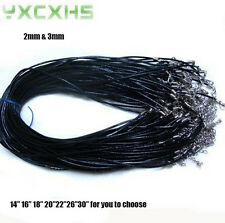 Black Real Leather Necklace Cord W Lobster 2mm  Quantities/Size Optional