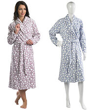 Womens Slenderella House Coat Ladies Long Sleeve Coral Fleece Spot Dressing Gown