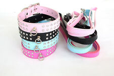 Double Diamante Collar and Lead Set Various Colours and sizes for Dog and Puppy