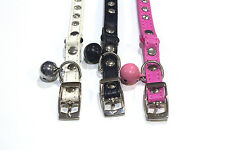 Glamorous Cat Collar in White Pink or Black Saftey Joint & Bell Purrfect Gift