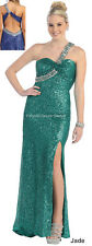 SEXY 1 SHOULDER DRESS EVENING PROM SEQUIN SPARKLY PAGEANT GALA PARTY LONG GOWNS