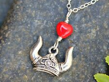 Viking Love necklace - viking helmet with red glass heart - sterling silver