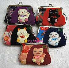 Maneki Neko Lucky Cat Clasp Coin Bag Coin Purse Key Bag Multi-Function - Large