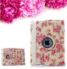 Elegant Peony Flower 360 Rotating PU Leather Case Smart Cover For New iPad 2 3 4
