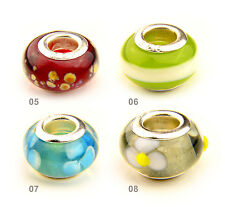 Lampwork Murano Glass Bead 925 Stamped fit Snake Charm Bracelet + 2 Spacer Beads