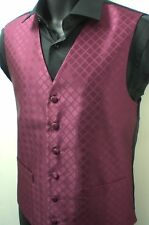 "MENS NEW BURGUNDY PATTERNED WAISTCOATS SIZES 36"" - 50"""