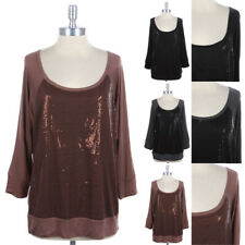 [Junior Plus Size] Front Sequins Raglan 3/4 Sleeve Top Banded Black 1XL 2XL 3XL