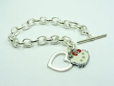 GIRL Silver plated HELLO KITTY Smooth HEART w/Toggle CLASP Link CHAIN BRACELET