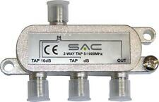 2 way tap. 8dB - 27dB . Class A shielded, For VHF, UHF and Sat distribution.