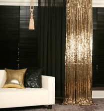 GOLD SEQUINS BEADED CURTAIN DRAPERY PANEL ROOM DIVIDER HANDMADE, MADE TO ORDER