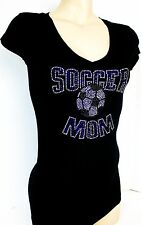 RHINESTONE BLUE SOCCER MOM  JUNIOR SHEER V NECK SHIRT NEW