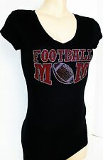 RHINESTONE RED FOOTBALL MOM  JUNIOR SHEER V NECK SHIRT NEW