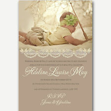 Vintage Christening Invitations Adeline - Beige Neutral Photo Handmade By me
