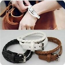 Women Lady Girl Chic Braided Faux Leather Wristband Bracelet Chain Gift for her