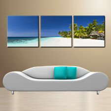 Beach/Seascape ready to hang 3 Panel wall art mounted Improved canvas print/MDF