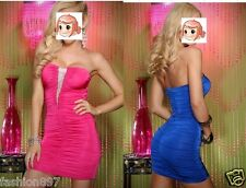 new women's Party Clubbing Mini Dress Ladies Strapless skirt one size red blue