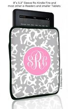 Coral CUSTOM Monogrammed Device Sleeve for iPad 1 2 3 4/Retina Kindle