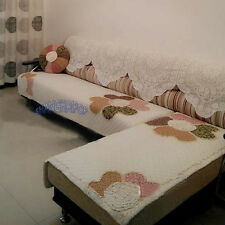 Floral Sofa Couch Blanket Cover Flower Love Seat Quilt Furniture Protector Beige